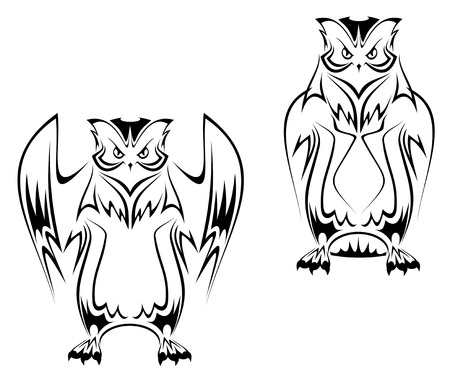 Owl tattoo in two variations on white background Vector