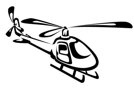 Vliegende helikopter geïsoleerd op wit als een symbool van de redding