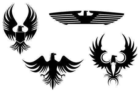 ファルコン: ワシのシンボルのタトゥーのデザインを白で隔離されます。