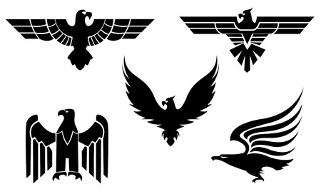 claws: Eagle symbol isolated on white for tattoo design