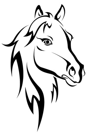 Black horse silhouette isolated on white for design Vector