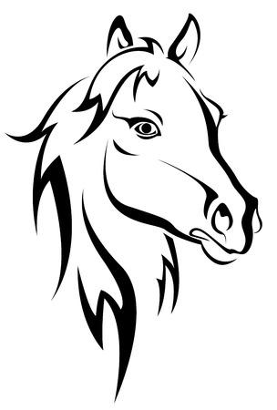 cabeza de caballo: Silueta de caballo negro aislado en blanco para el dise�o