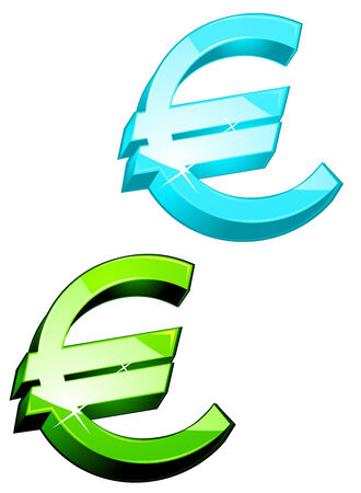 currency symbols: Glossy currency symbols of euro for design