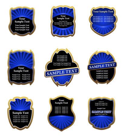 Set of blue vintage labels for design food and beverages Stock Vector - 6386772