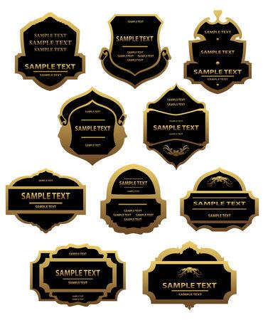 Set of golden labels and framesfor design food and beverages Vector