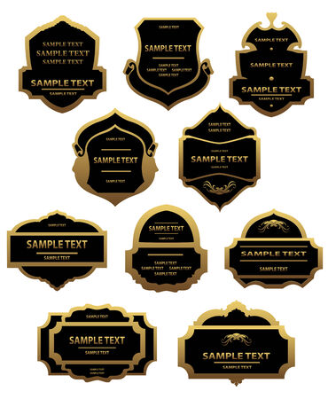 Set of golden labels and framesfor design food and beverages Stock Vector - 6386768