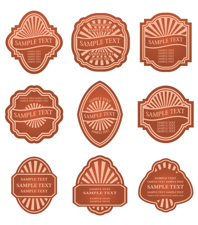 Set of old brown labels for design food and beverages Vector