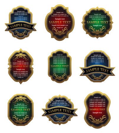 emblem red: Set of golden vintage labels for design food and beverages