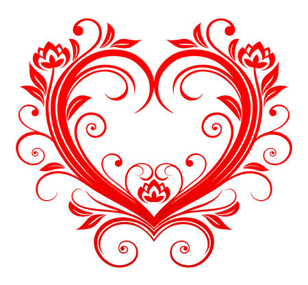 floral scroll: Red valentine heart in floral style for design Illustration