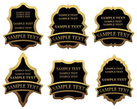 food logo: Set of golden labels for design food and beverages