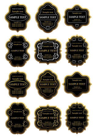 Set of gold and black labels for design food and beverages Vector