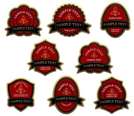 Set of red vintage labels for design food and beverages Vector