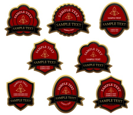 Set of red vintage labels for design food and beverages Stock Vector - 6442341