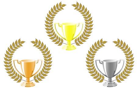 Set of cups with laurel wreath for sport design Vector