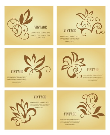 Set of business cards in vintage style for design Vector