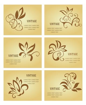 corner design: Set of business cards in vintage style for design