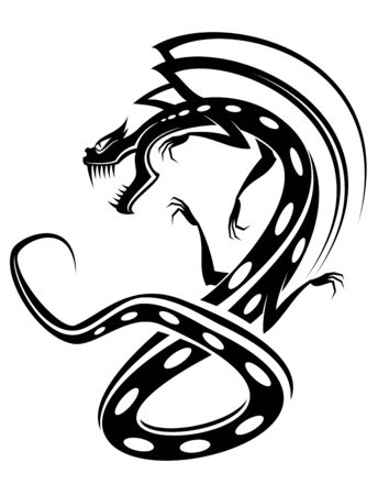 Isolated tattoo of black dragon on white Vector