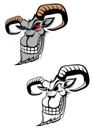 aries: Carnero salvaje como un tatuaje o s�mbolo aislados en blanco  Vectores