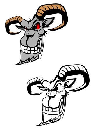 rams horns: Wild ram as a tattoo or symbol isolated on white