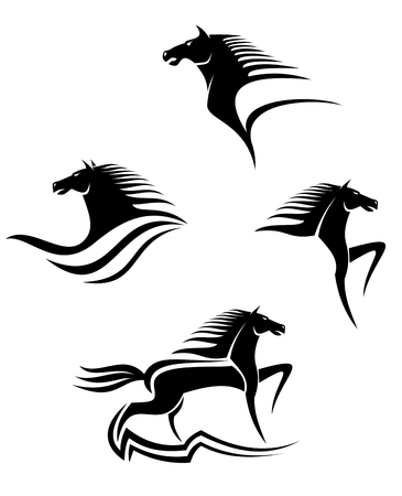 black horses: Set of black horses symbols for design isolated on white