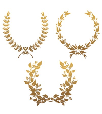 Set of gold laurel wreaths for design Vector