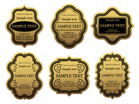 Set of golden labels for design food and beverages Vector
