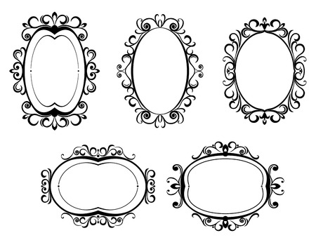 gothic revival: Antique vintage frames and borders isolated on white for design