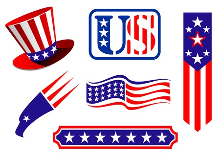 American patriotic symbols set for design and decorate Vector