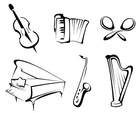 Musikinstrumente festgelegt f�r Design und dekorieren Lizenzfreie Bilder - 6554170