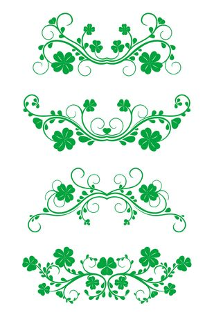 Floral vintage frames with clover isolated on white for design Vector