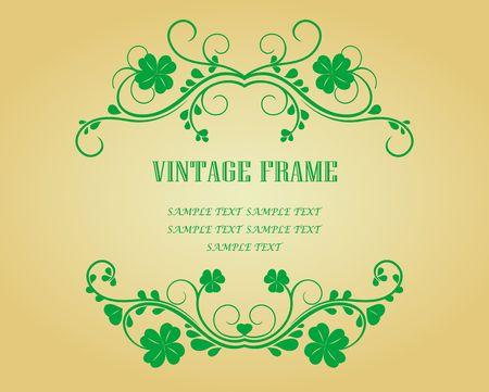 Floral vintage frames with clover for design Vector