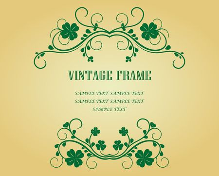 clover shape: Vintage frame with clover for design as a background Illustration