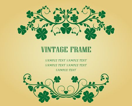 Vintage frame with clover for design as a background Vector