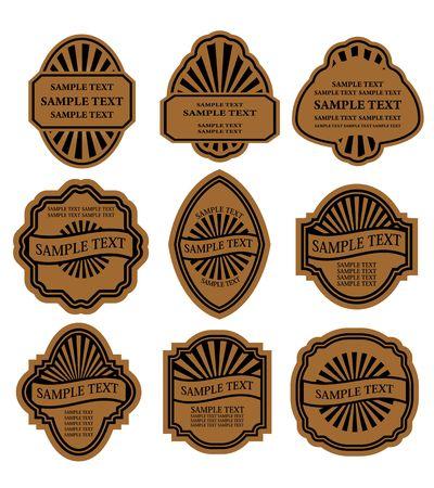 Set di etichette marrone vintage per alimenti di progettazione e bevande  Vettoriali