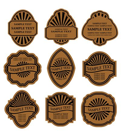badge ribbon: Set of vintage brown labels for design food and beverages Illustration