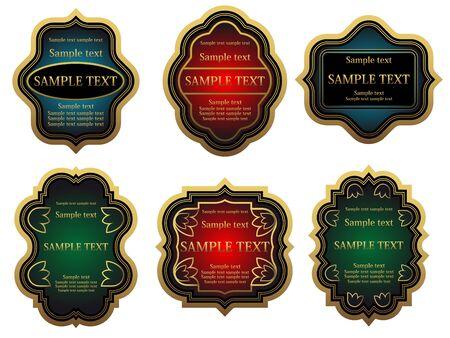 Set of golden vintage labels for design food and beverages Stock Vector - 6685988