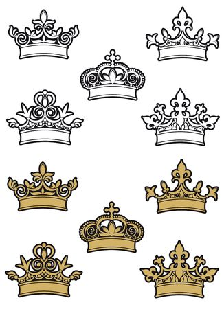 aristocracy: Heraldic crowns and diadems for design and decorate Illustration