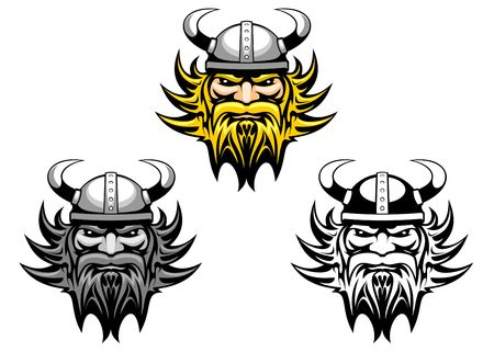 nordic: Oude boze viking strijder als mascotte of tatoeage  Stock Illustratie