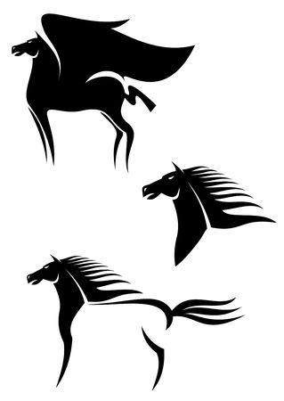 horse harness: Set of black horses symbols for design isolated on white