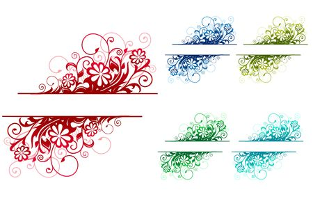 Colorful floral decorations isolated on white for design Stock Vector - 6696952