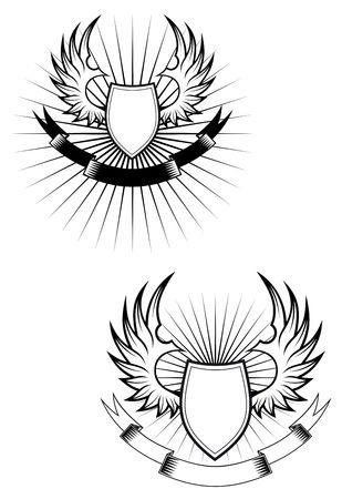Boucliers héraldiques, les ailes et les rubans pour la conception Vecteurs