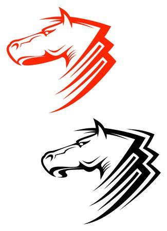 stallion: Set of horses symbols isolated on white