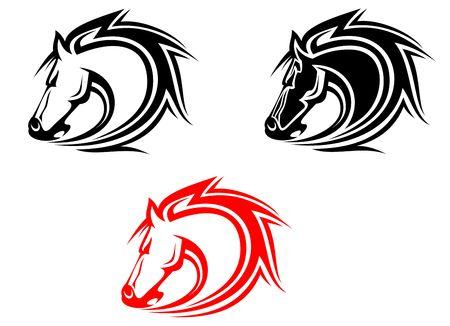 cavallo in corsa: Set di cavalli i tatuaggi isolato sul bianco