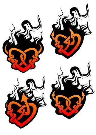 Isolated tattoo of black and red heart in tribal style Vector