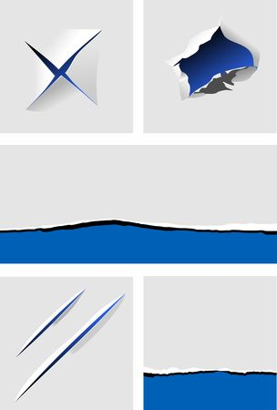 Elements of torn paper with holes for design Vector