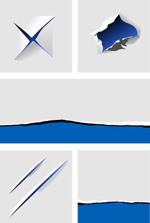 ecartel�: �l�ments de papier d�chir� avec trous pour la conception