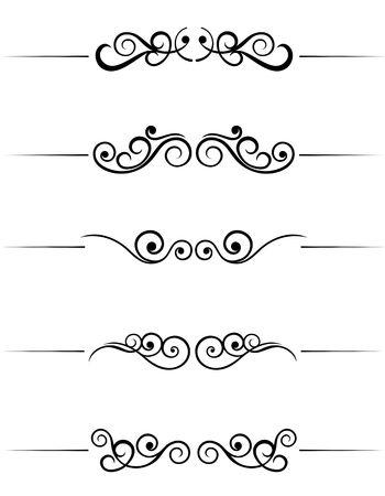line in: Swirl elementi e monogrammi per design e decorare
