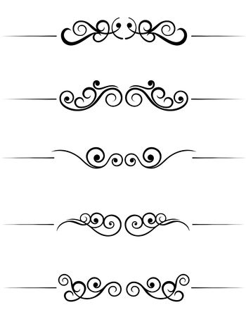 gothic revival: Swirl elements and monograms for design and decorate Illustration