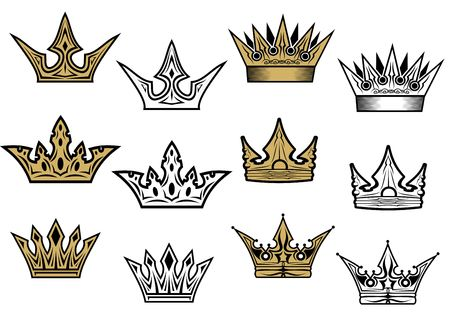 diadem: Heraldic crowns and diadems for design and decorate Illustration