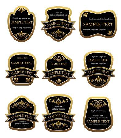 Set of vintage golden labels for design food and beverages Stock Vector - 6725451